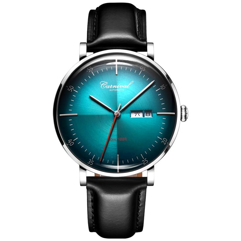 Carnival Brand Luxury Men Watches Fashion Automatic Mechanical Wristwatches Mens Leather Strap Waterproof Sport Watch erkek