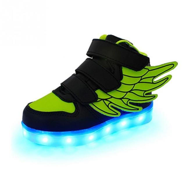New Children Funny Luminous Sports Shoes Wings Decoration Kids Led