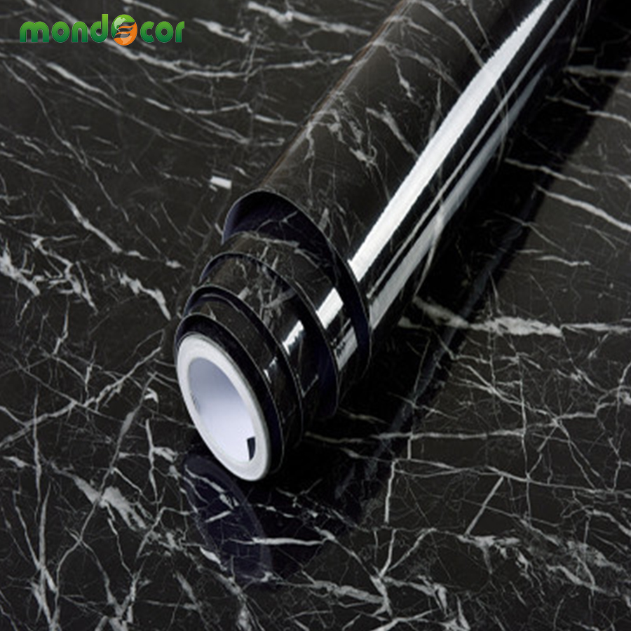 Black Wood Grain Marble Solid Self Adhesive Wallpaper For Kitchen Cabinets Countertops Door Wall Sticker PVC Vinyl Contact Paper