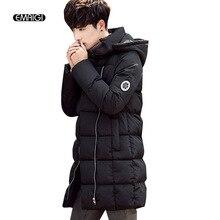 Зима мужчины толщиной с капюшоном парки пальто хлопок padden длинный жакет мужской моды случайные теплое пальто W127