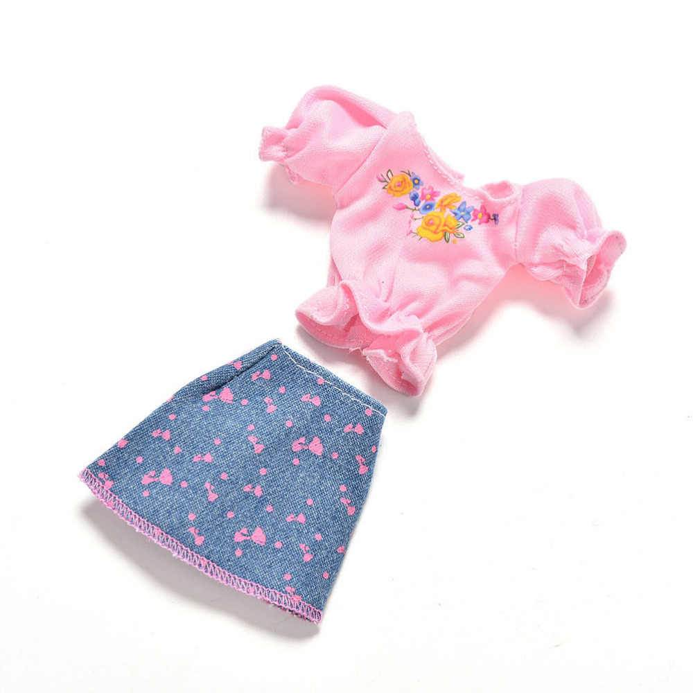 Mini Princess Denim Skirt For girl Doll Clothes Sets Cute Fashion Summer Short Sleeve Flower Print Doll Dress 1set