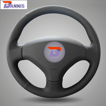 BANNIS Black Artificial Leather DIY Hand-stitched Steering Wheel Cover for Old Peugeot 408 /Peugeot 308