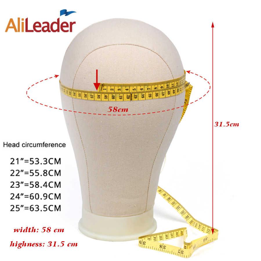 """Cabeza de bloque de lona blanca de la mejor calidad Alileader 21-25 """"Cabeza de bloque de peluca Tpins de espuma soporte de cabeza de manequina para estilo de exhibición de peluca"""