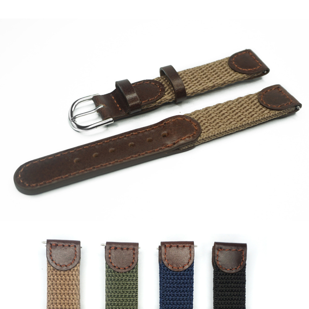 d5512f7153c2c 16mm 18mm 20mm 22mm 24 Italian Oil Genuine Leather Joint Nylon Watch Band  Strap Men Watchband