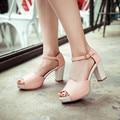 2017 moda peep toe sandalias de tacón alto de las mujeres hebilla sandalias de Gladiador sandalias de plataforma de las señoras del partido de danza de rosa zapatos de verano