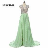 Hongfuyu新しい絶妙なミントグリーンシフォンロングウエディングドレス2017 vネックaライン床長さビーズクリスタル女