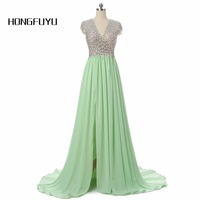 Exquisite V Neck Backless A Line Chiffon Beaded Crystal Mint Green Maroon Long Prom Dresses 2016