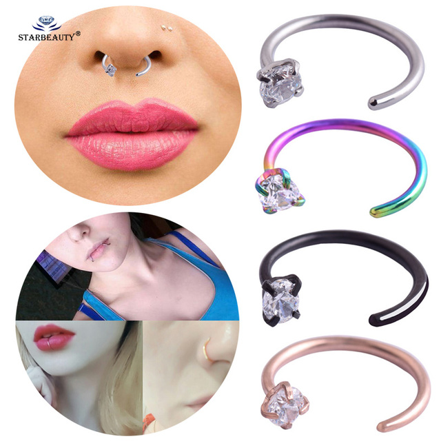 Starbeauty 1pc Chic Clear Stone Fake Nose Ring C Clip Labret Helix Tragus Lip Piercing Nose Rings Fake Piercing Women Jewelry