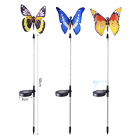 3pcs Garden Solar Lights Outdoor Multi color Changing LED Fiber Optic Butterfly Decorative Light CLH@8