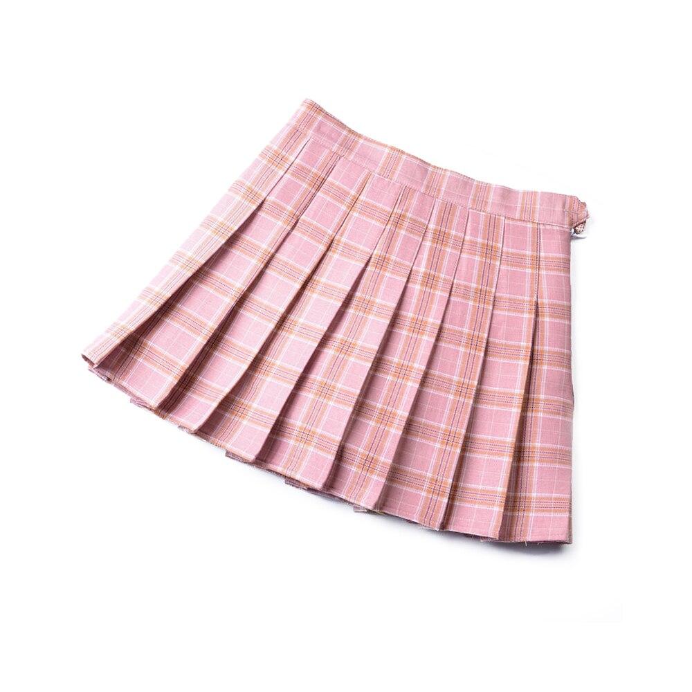 Мини-юбка, мягкая Летняя короткая юбка в клетку, легкая юбка трапециевидной формы, плиссированная юбка, удобная, 3 цвета, для девочек - Цвет: Pink