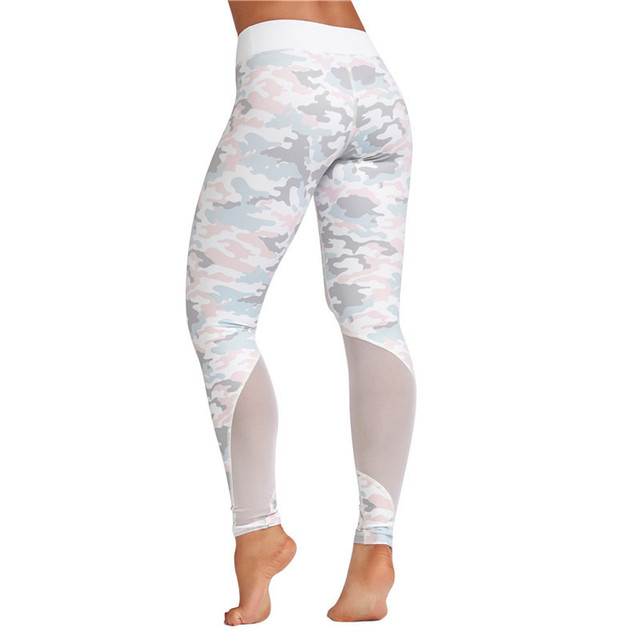 bd8595fe34 Camo Printed See-through Mesh Patchwork Sports Leggings Women Gym Running  Tights Yoga Pants For