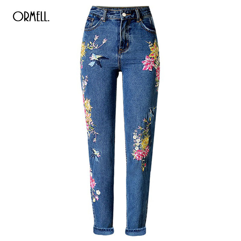 ORMELL Flower Birds Embroidery Jeans Female Blue Casual 3D Pants Capris 2017 Spring Summer Pockets Straight Jeans Women Bottom flower embroidery jeans female light blue casual pants capris 2017 spring autumn pockets straight jeans women bottom