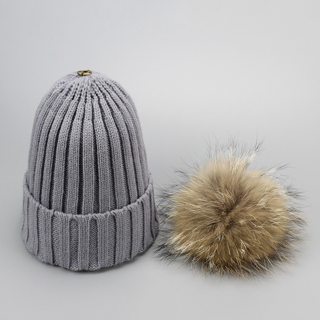 65ea273a3aa ... Fur Winter Hat Raccoon Pom Pom Hat For Women Brand Thick Women Hat  Girls Caps Knitted Beanies Cap Wholesale 2017 new 9275. 48% Off. 🔍  Previous. Next