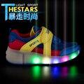Nuevo 2016 Niños Niñas niños Zapatos Del Patín De Ruedas de Luz LED para Los Niños Embroma las Zapatillas de deporte Con Ruedas Azul tamaño 31-39 Con ruedas