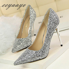 New Spring/Autumn Women Pumps High Thin Heel Pointed Toe Bling Bridal Wedding Women Shoes Silver Sexy Ladies High Metal Heels spring summer women high heels shoes pointed thin heel matel heels pumps elegant sexy heeled carved metal wedding shoes g1723 1