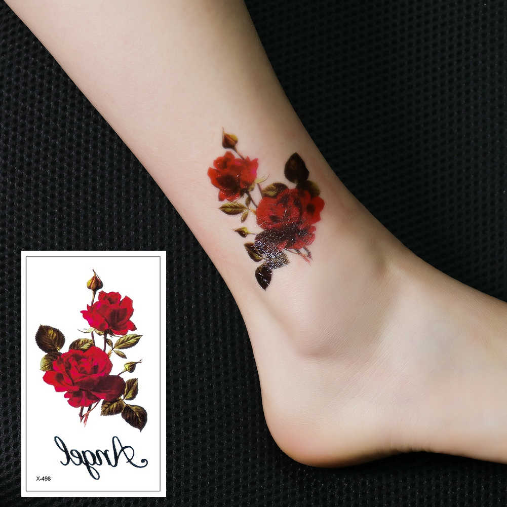 X-498 Flowers Tattoo Stickers Waterproof Temporary Ink Fake Body Art Tattoo Arm Leg Beauty Decals Fashion  For Women Girls