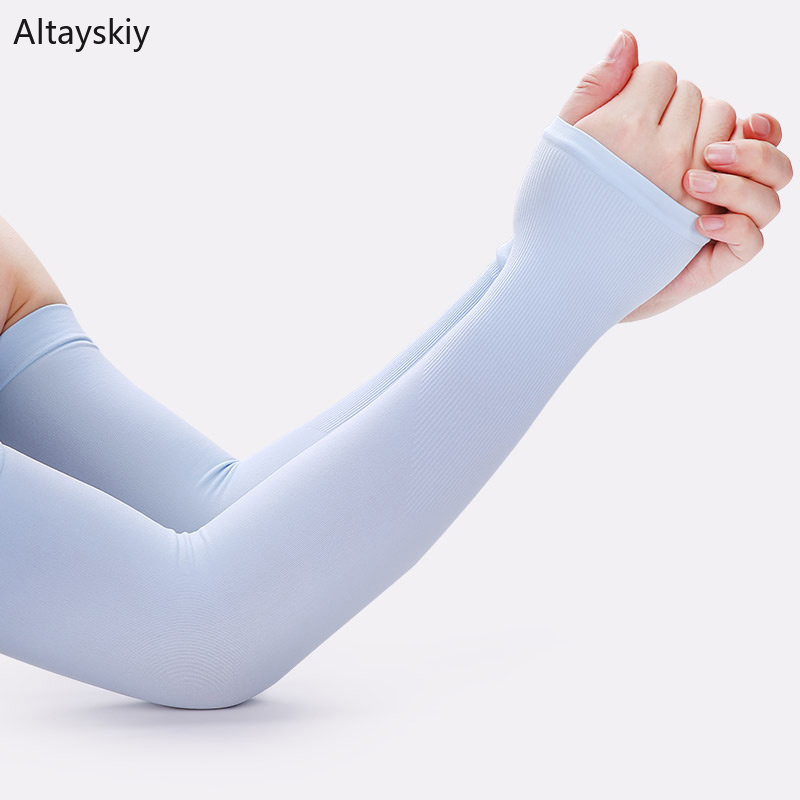 Arm Warmers Women Solid Summer Thin High Elasticity Breathable Outdoor Sunscreen Womens Mitts All-match Leisure Simple Soft Chic