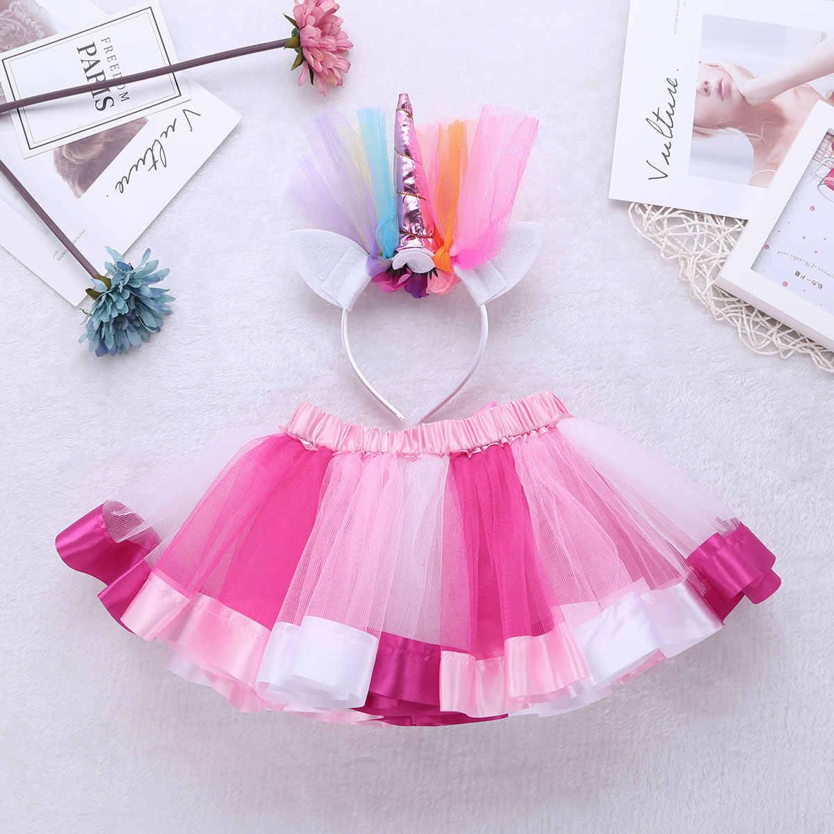 Falda tutú de baile arcoíris para niños y niñas con conjunto de aro de pelo de dibujos animados para niñas, vestido de Ballet de bebé con volantes para niños
