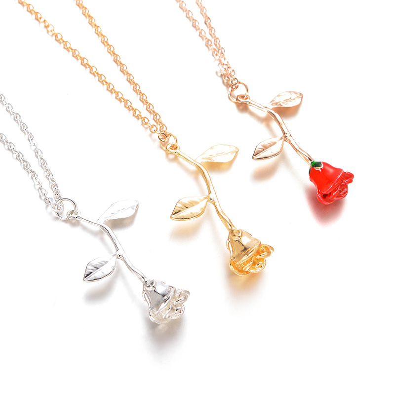 New Exquisite Rose Pendant Necklace for Girlfriend Valentine's Day Gift Charm Cute Female Jewelry Necklace