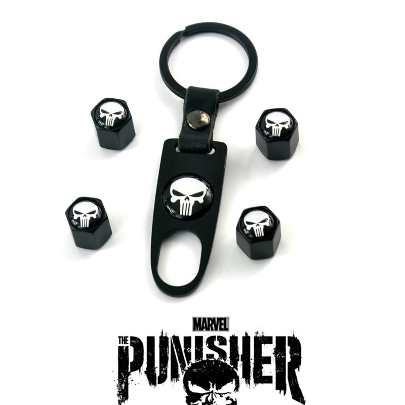 Rhino Tuning 4Pcs The Punisher Skull Styling Auto Car Wheel Tyre Valve Caps with Spanner Car Auto Tire Valve Dust Caps 082