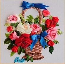 Free shipping promotion Ribbon embroidery paintings 40x50cm flower basket rose cross stitch room decoration