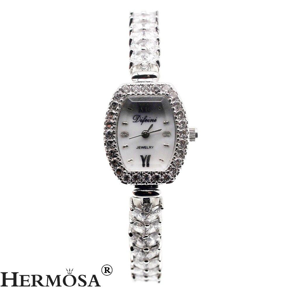 Gorgeous Women Quartz Wristwatch Natural Whitetopaz Watch Lady Sterling Silver Bracelet Jewelry 7.5 Inches FREE SHIPPING l 10 women s stylish petals style bracelet quartz analog wristwatch golden white 1 x lr626