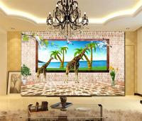 Custom mural wallpaper room 3d photo wallpaper giraffe eat coconut 3d painting room sofa TV background wall non-woven wallpaper
