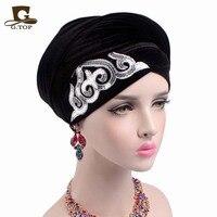 Nowy Kobiety Luksusowy Gorgeous Zdobione Cekinami Długie Aksamitne Turban Hidżab Chustki Okłady Głowy Panie Turbante
