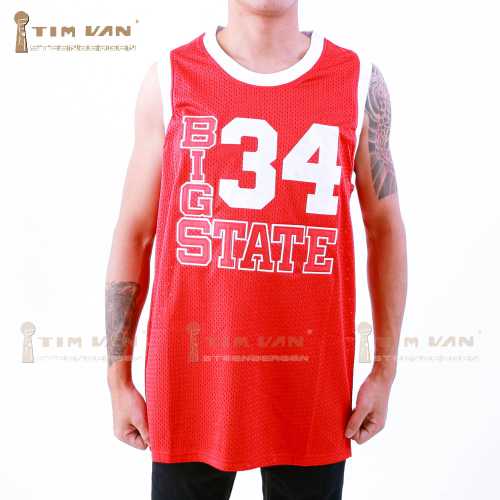 Prix pour TIM VAN STEENBERGEB Jésus Shuttlesworth 34 Grand State Basketball Jersey Il Got Game Piqué Cousu-Rouge