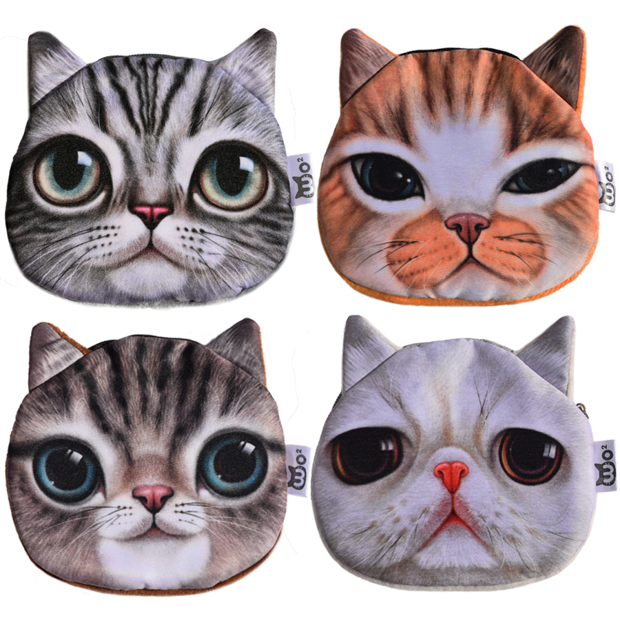 2016 High Quality Lovely Cat Prints Women Coin Purses Children Mini Plush Money Wallets Female Storage Bags Cat Wallets цена