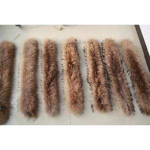 Image 5 - Kış gerçek rakun kürk yaka 100% doğal rakun kürk eşarp 70CM moda ceket kazak atkılar yaka boyun kapağı