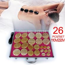 New type! 26pcs/set Hot stone body massager Gong Jade Salon SPA with heater bag ysgyp-nls