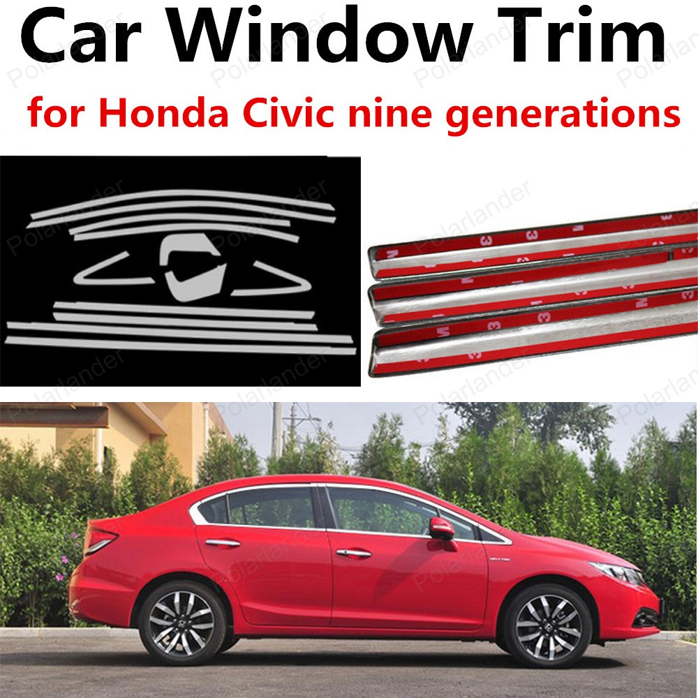 new! Stainless Steel Car Window Trim Without Column Decoration Strips For Honda Civic nine generations car styling stainless steel for volkswagen polo window trim without center pillar decoration strips