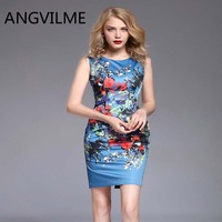 ANGVILME Top 2017 New Brand Dress Summer Women High Quality Printing Bodycon Bandage Business Work Office