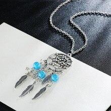 Collier Femme Plume atrapasueños nativo americano franja Turquse cuentas de collar Collier attrape reve Colares Boho Chic Collana