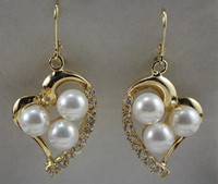 Latest Round Shell Pearl With Heart Shape Stud Earring ER00063 8mm
