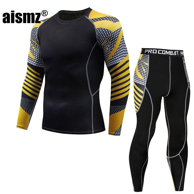 Aismz MMA rashgard union suit Tracksuit Men Moletom Masculino Mens Top+tights Set Long Sleeve T-Shirt Leggings Fitness Clothing