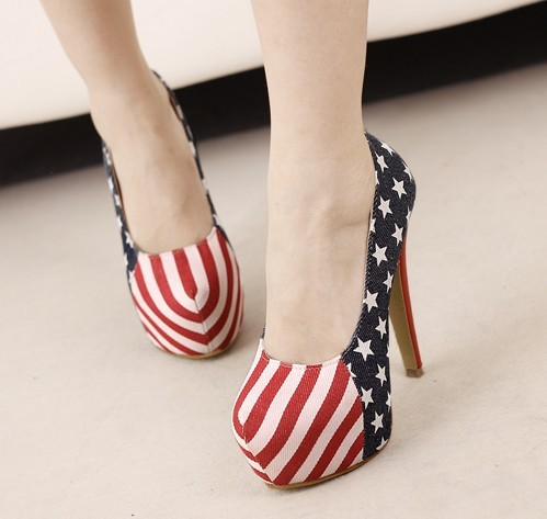 Fashion New Women Pumps American Flags Slip On Stilettos Women High Heels Sexy Ladies Party Shoes Round Toe