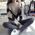 2016 Winter Women Sweater New Black Striped Pullovers High Quality Computer Knitted Sweaters Pull Femme Jumpers SZQ031