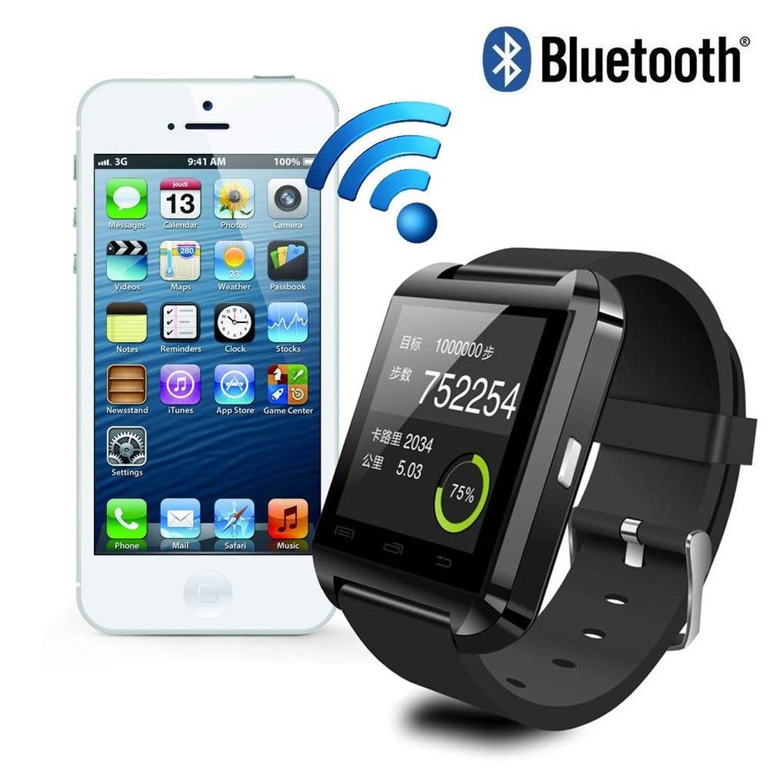 İPhone 4 / 4S / 5 / 5S / 6 və Samsung S4 / Qeyd / s6 HTC Android Smartphone üçün Bluetooth ağıllı saat U8 Sensorlu ekran Smartwatch