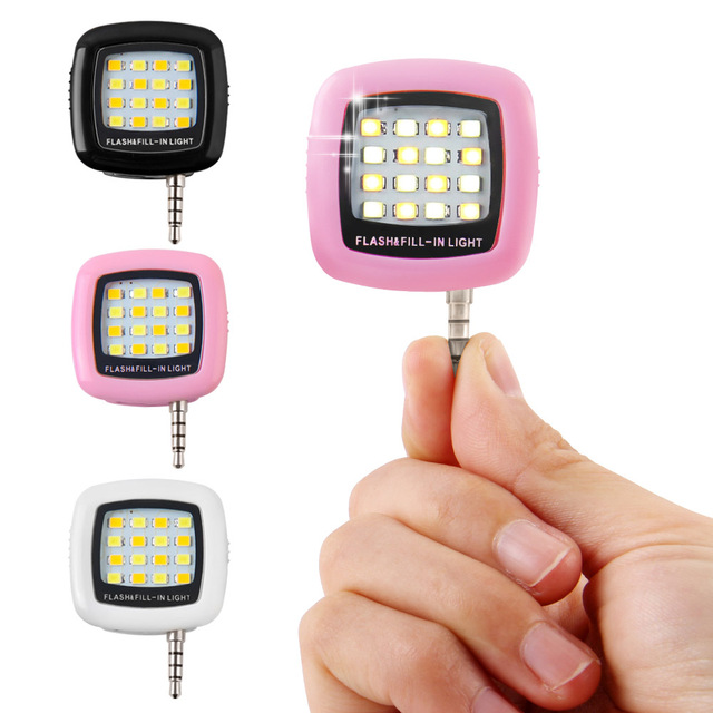 New Mini LED Selfie Flash Light Selfie Fill Light Portable 3.5MM Jack For iPhone Samsung S9 S8 S7 For Xiaomi Huawei ZTE Phone
