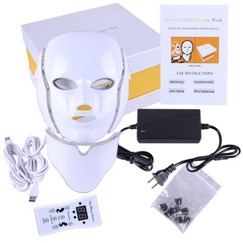 Photon Electric LED Facial Mask with Neck Skin Rejuvenation Anti Acne Wrinkle Beauty Treatment Salon Home Use