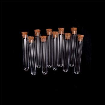 Laboratory Plastic Test Tube With Cork 3-inch 20ml Clear, Pack10, Lab Experiment Favor Gift Tube , Refillable Bottle 12x75 mm 1