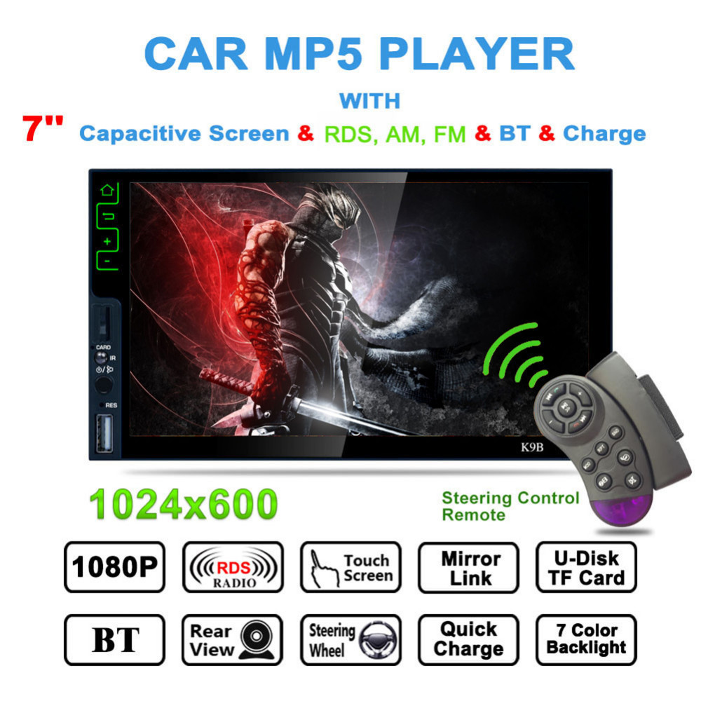 Bluetooth MP5 Player 7 Inch Mirror Link Rear Camera Steering AM/FM/RDS Radio Tuner Car Stereo Media Player Wheel Remote Control steering wheel control car radio mp5 player fm usb tf 1 din remote control 12v stereo 7 inch car radio aux touch screen
