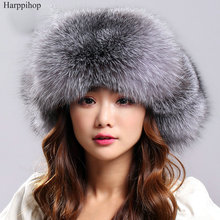 Woemn Winter Warm Fur Hat Real Fox Fur Bomber Hat