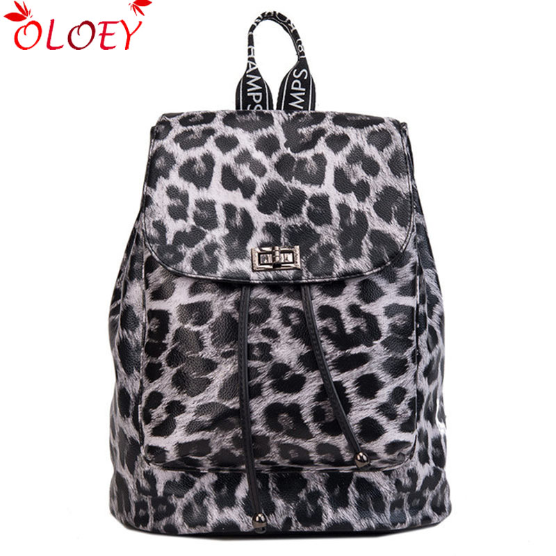 2018 new Women Pu Backpacks High Quality Student School Bag for Teenager  Girls Letter Leopard Print b4a2ad48c355b