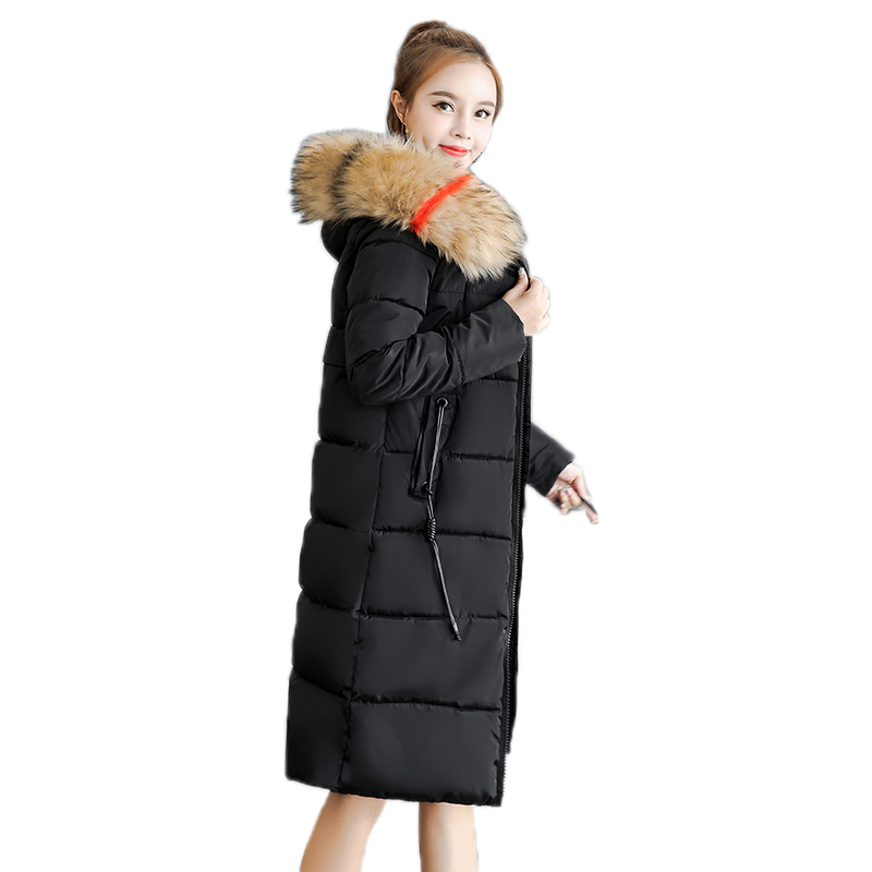 Rlyaeiz Fashion Winter Down Cotton Coat Jacket 2018 Winter Jacket Women Hooded   Parka   Fur Collar Warm Coat Women Oversize 7XL