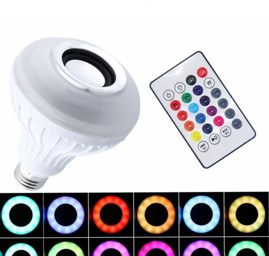 E27 12W Smart RGB Wireless Bluetooth Sing Bulb Music Playing Speaker LED Bulb Light with 24 Keys Remote Control wireless e27 bluetooth remote control mini smart led audio speaker rgb 9 color light warm bulb music lamp car styling