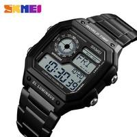 SKMEI 1382 Digital Watch Men Waterproof Pedometer Calorie Compass Multifunction Sport Clock Men's Wristwatch Male Watches Black