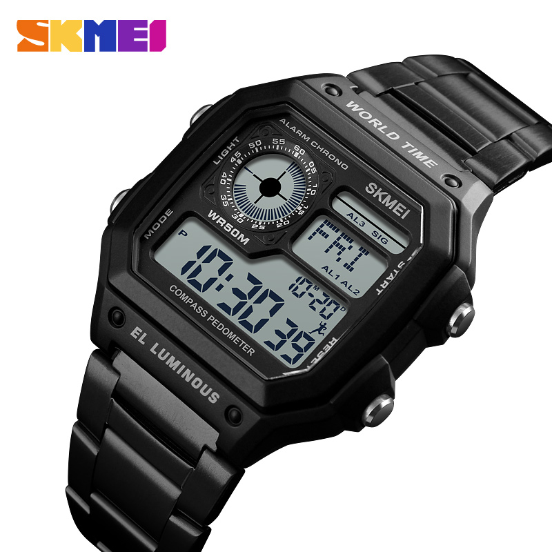 SKMEI 1382 Digital Watch Men Waterproof Pedometer Calorie Compass Multifunction Sport Clock Men's Wristwatch Male Watches Black